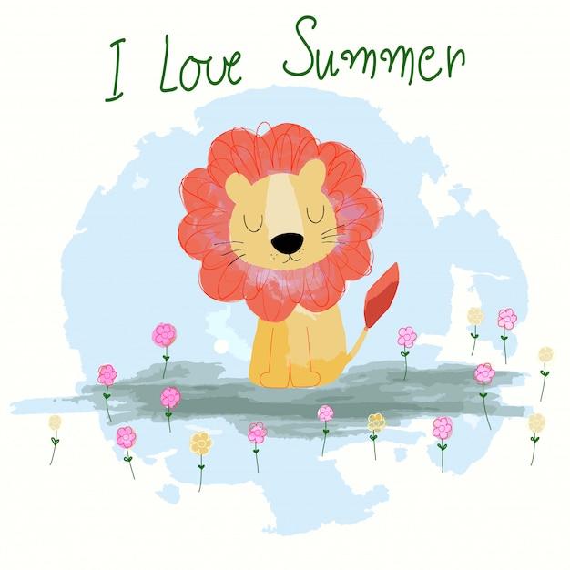 Leão de verão bonito dos desenhos animados Vetor Premium