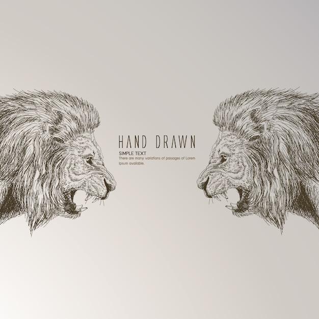 Leão desenhado mão Vetor grátis