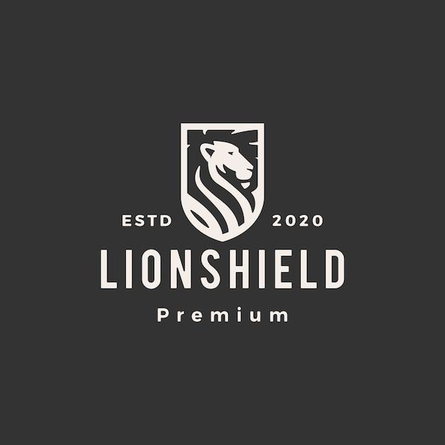 Leão escudo hipster logotipo vintage icon ilustração Vetor Premium