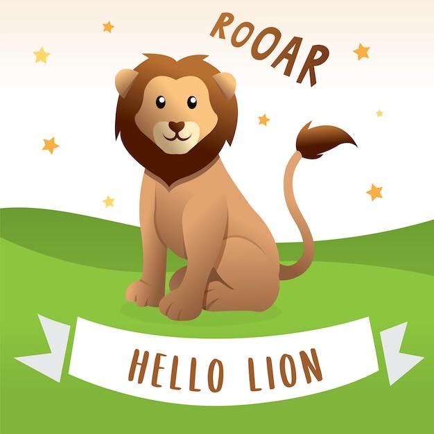 Leão feliz dos desenhos animados, ilustração do vetor de desenhos animados do leão. ilustração de leão bonito e engraçado Vetor Premium