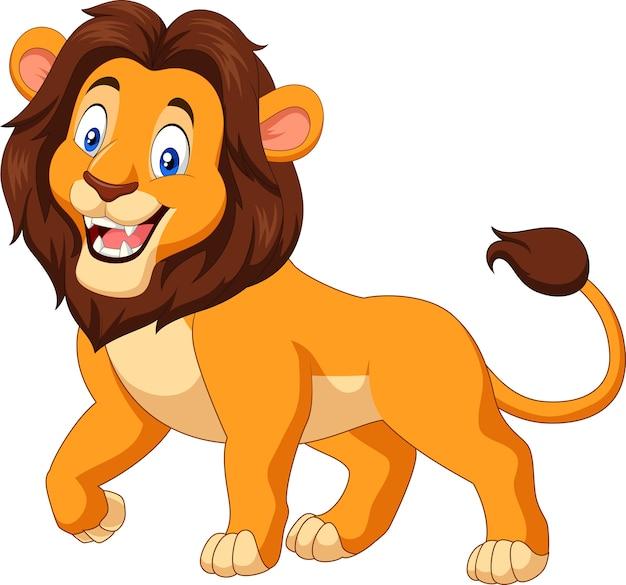 Leão feliz dos desenhos animados, isolado no fundo branco Vetor Premium
