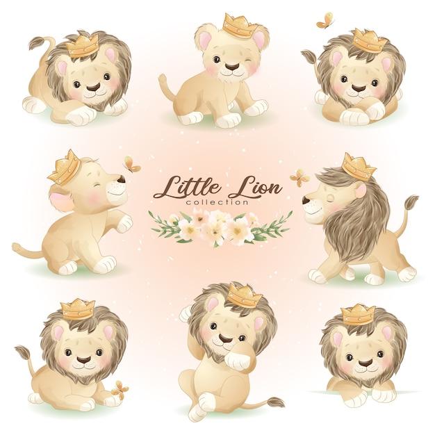 Leão fofo posa com ilustração floral Vetor Premium