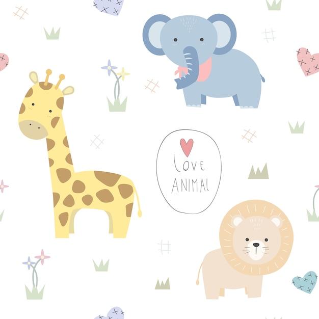 Leão girafa elefante bonito dos desenhos animados doodle padrão sem emenda Vetor Premium