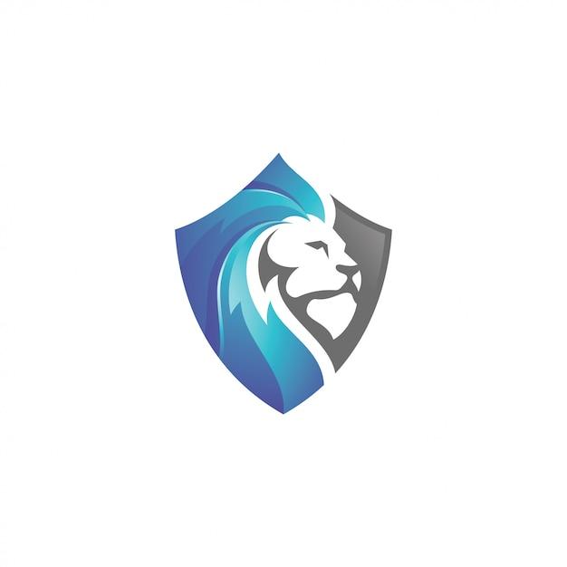 Leão leão cabeça e escudo logo Vetor Premium