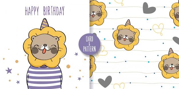 Leão mão animais desenhados animais selvagens bonito gesto colorido feliz com uma festa de aniversário ilustração e padrão sem emenda Vetor Premium