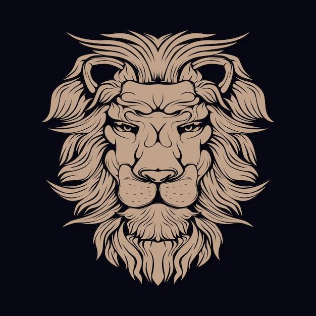 Leão marrom Vetor Premium