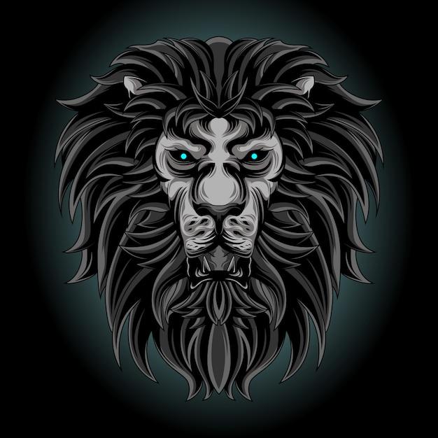 Leão negro Vetor Premium