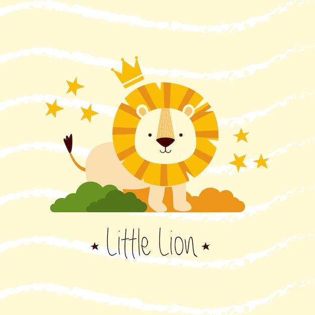 Leão pequeno bonito no mato Vetor Premium
