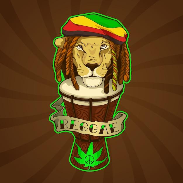 Leão reggae Vetor Premium