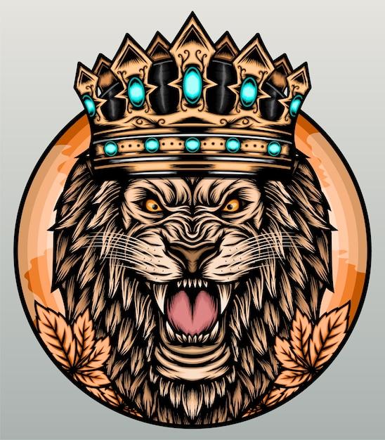 Leão rugindo com coroa. Vetor Premium