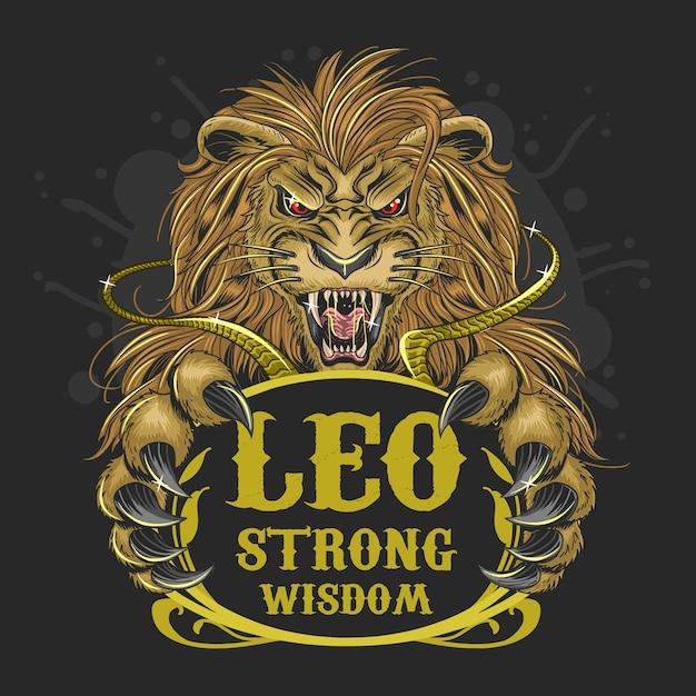 Leão vetor de cabelo ouro zodíaco ouro Vetor Premium
