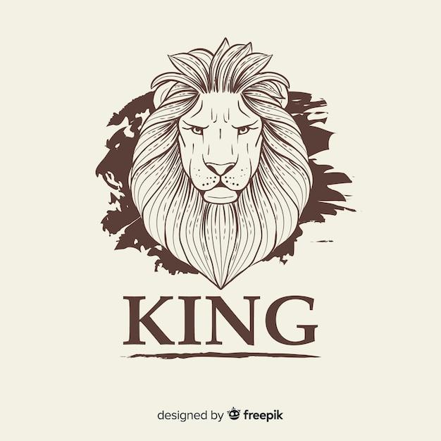 Leão vintage com fundo de slogan Vetor grátis