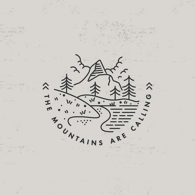 Lear ícone ou logotipo montanhas Vetor Premium