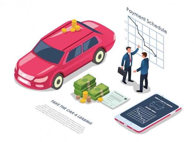 Leasing do carro com ilustração lisa da programação de pagamento. Vetor Premium