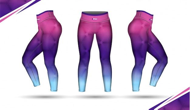 Leggings calças formação moda ilustração vector com molde Vetor Premium