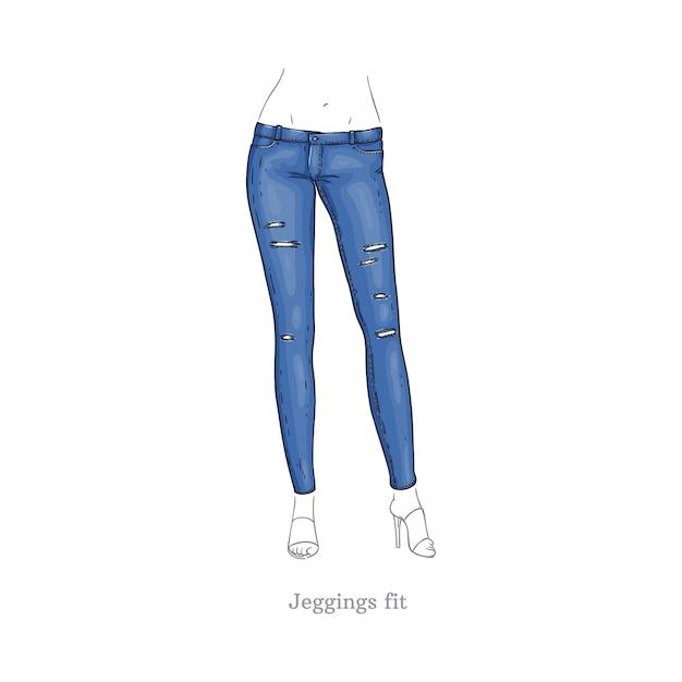 Leggings fit estilo jeans calças jeans femininas Vetor Premium