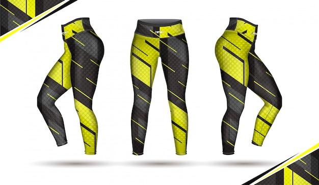 Leggings pants moda ilustração vector com molde Vetor Premium
