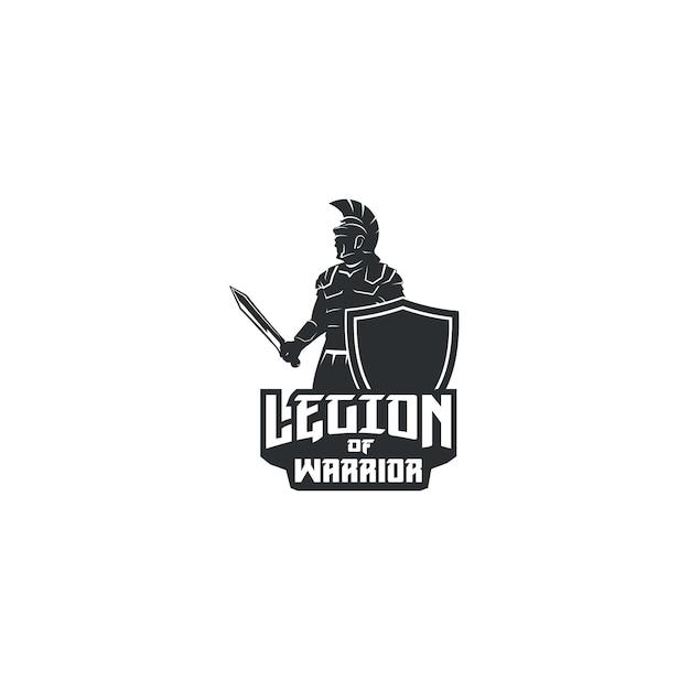 Legião de guerreiro com espada e escudo logo Vetor Premium
