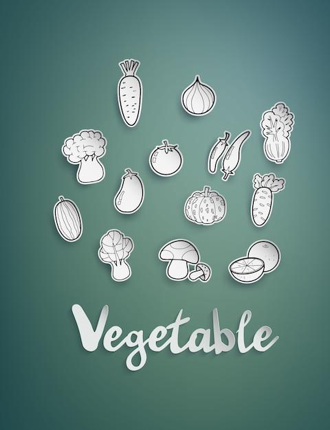 Legumes de desenho à mão livre. Vetor Premium