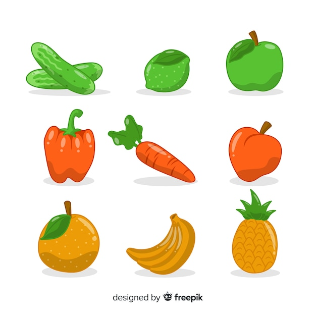 Legumes de mão desenhada e pacote de frutas Vetor grátis