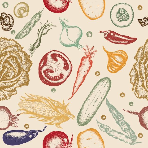 Legumes de mão desenhada sem costura padrão Vetor Premium