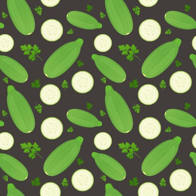 Legumes de tutano inteiro e fatias isoladas em fundo escuro. abobrinha madura com folhas de salsa. padrão uniforme. Vetor Premium