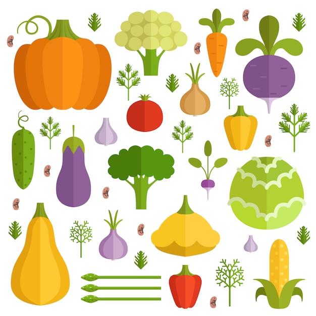 Legumes diferentes em estilo cartoon Vetor Premium