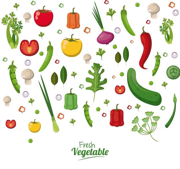 Legumes frescos orgânicos vegetarianos alimentos papel de parede Vetor Premium
