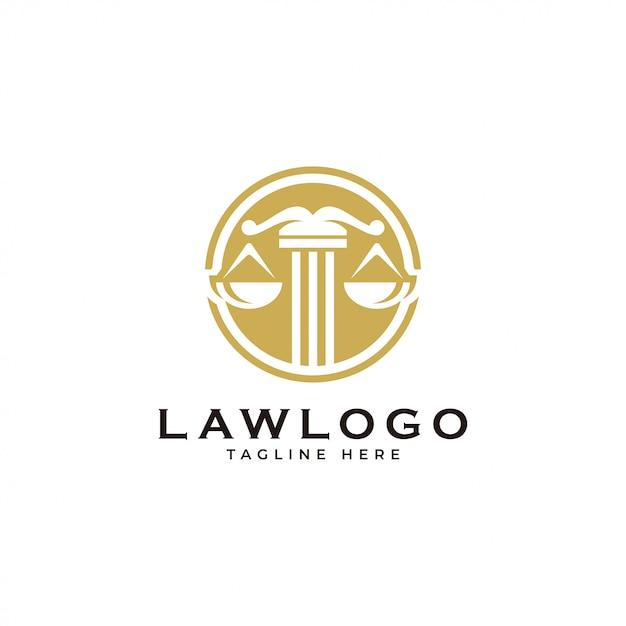 Lei de justiça de escala e logotipo de emblema de círculo Vetor Premium