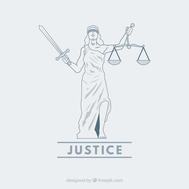 Lei e justiça conceito com estilo mão desenhada Vetor Premium
