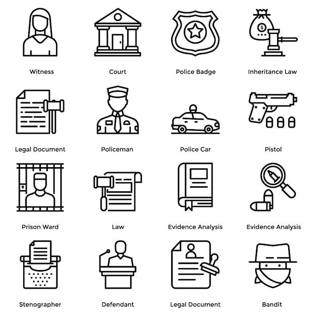Lei e justiça pacote de ícones de linha Vetor Premium