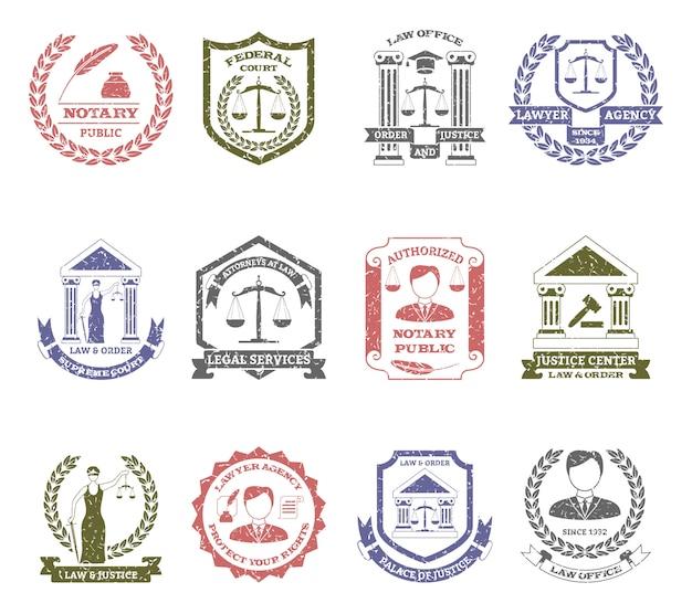 Lei e ordem logo selos set Vetor grátis