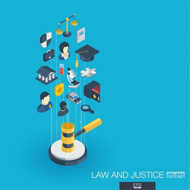 Lei, justiça integrou ícones da web. conceito de progresso isométrico de rede digital. sistema de crescimento de linha gráfica conectada. advogado abstrato do whith do fundo, crime e punição. infograph Vetor Premium