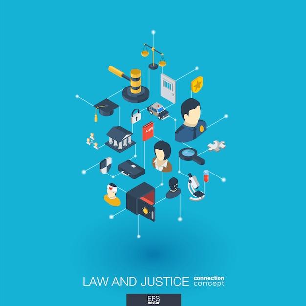 Lei, justiça integrou ícones da web. rede digital isométrica interagir conceito. sistema gráfico de pontos e linhas conectado. advogado abstrato do whith do fundo, crime e punição. infograph Vetor Premium