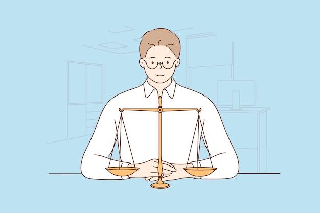 Lei, justiça, notário, conceito de trabalho. Vetor Premium