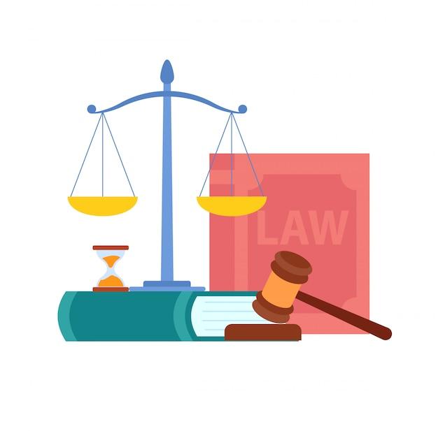 Lei, ordem, ilustração vetorial de símbolos do tribunal Vetor Premium