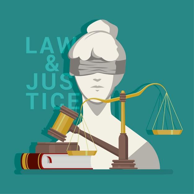 Lei plana e ilustração de justiça Vetor Premium