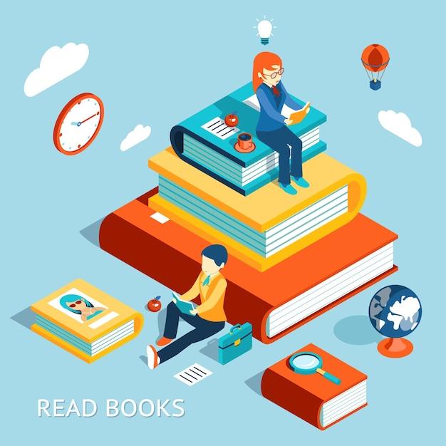 Leia o conceito de livros. educação e escola, estudo e literatura. Vetor grátis