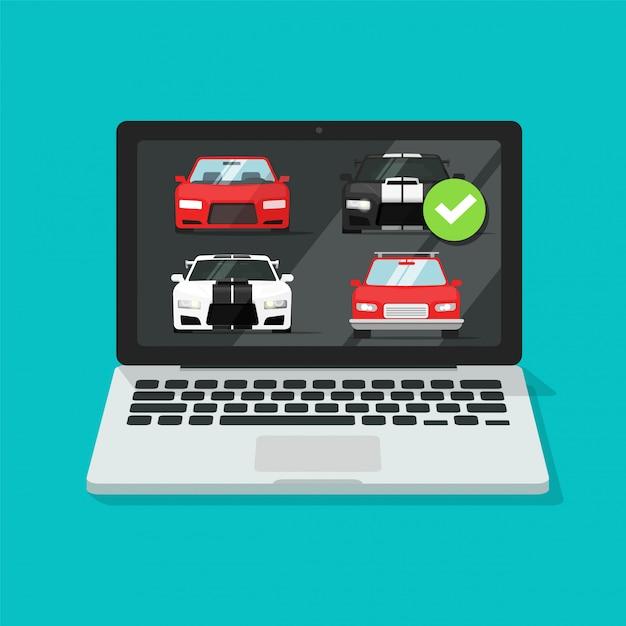 Leilão de automóveis de automóveis on-line no computador laptop ou comparação do site da loja de aluguel de veículos na internet Vetor Premium