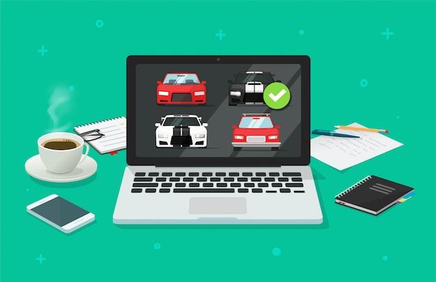 Leilão de automóveis de automóveis on-line no pc do computador ou na loja de aluguel de veículos na internet, comparação com a escolha de automóveis Vetor Premium