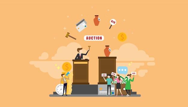 Leilão, licitação, pessoas minúsculas, personagem, ilustração Vetor Premium