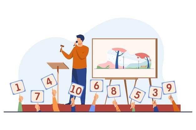 Leiloeiro com martelo vendendo obras de arte no palco. compradores segurando cartazes com ilustração vetorial plana de ofertas. leilão, comércio, licitação Vetor grátis