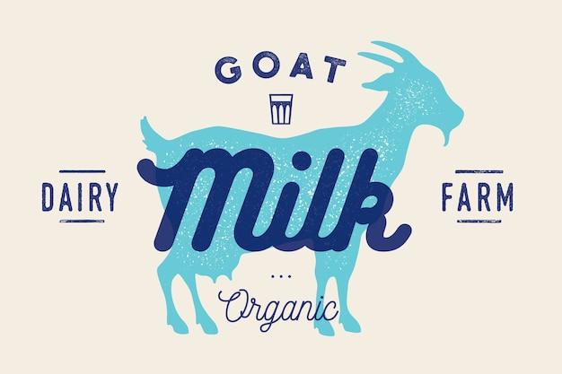 Leite, cabra. logotipo com silhueta de cabra, texto leite, fazenda leiteira, orgânico, produto natural. Vetor Premium
