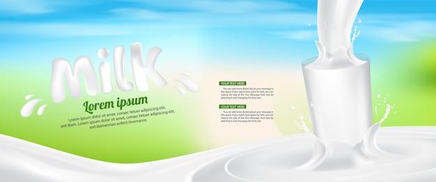 Leite de vidro respingo banner anúncio vetoriais ilustração de fundo Vetor Premium
