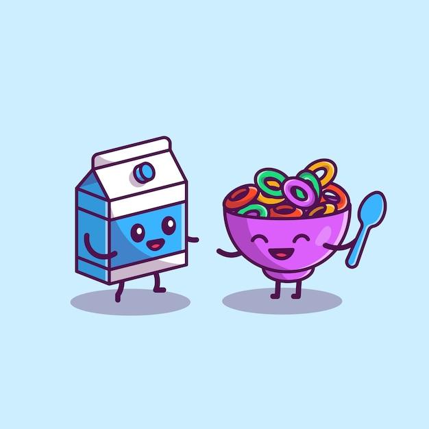 Leite feliz e ilustração de ícone dos desenhos animados de cereais. conceito de ícone de comida e bebida isolado. estilo flat cartoon Vetor grátis