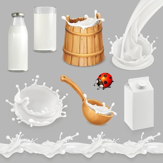 Leite. garrafa, copo, colher, balde. produtos lácteos naturais. conjunto de vetores 3d Vetor Premium