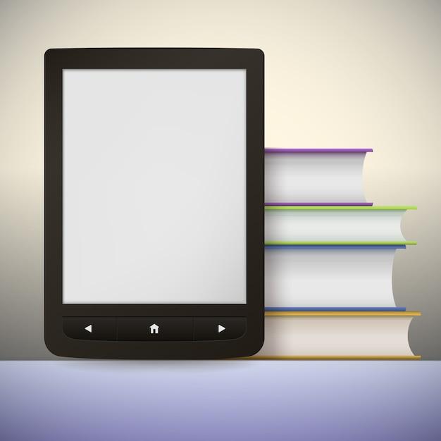 Leitor de livros eletrônicos com uma pilha de livros. Vetor Premium