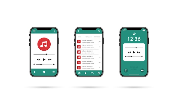 Leitor de música móvel. conjunto de jogadores de smartphone. Vetor Premium