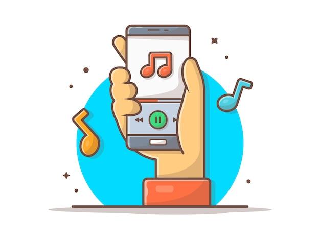 Leitor de música online com mão, melodia e nota da música ícone. tocando música para celular Vetor Premium
