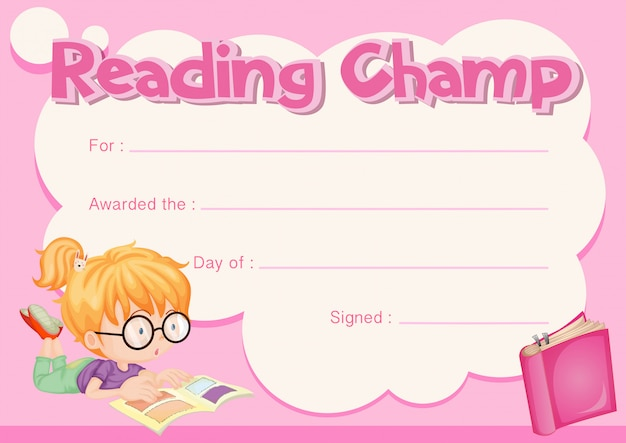 Leitura de certificado de campeão com o livro de leitura de menina Vetor grátis